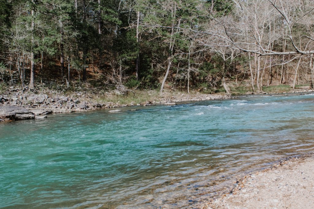 Cossatot River wide view with teal hue