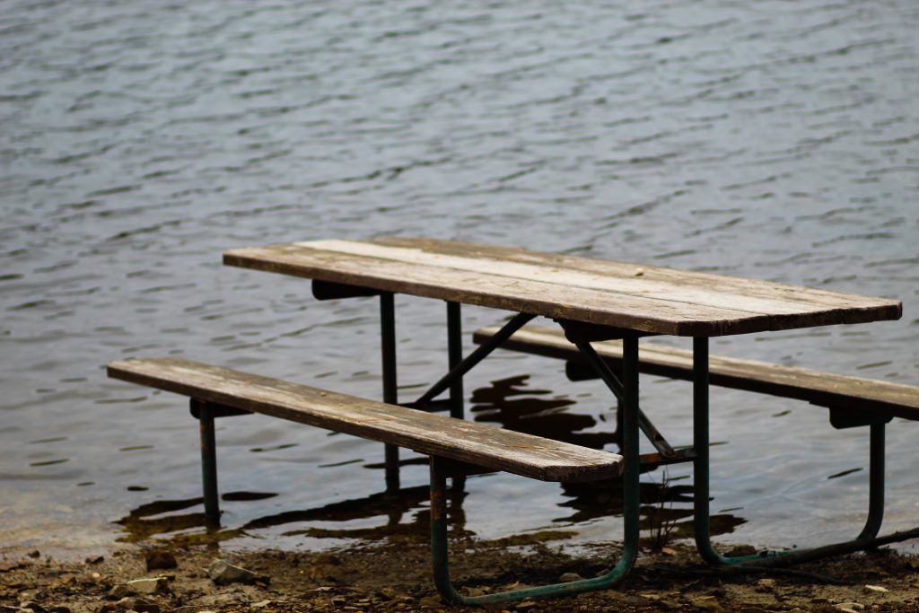 Picnic table in water