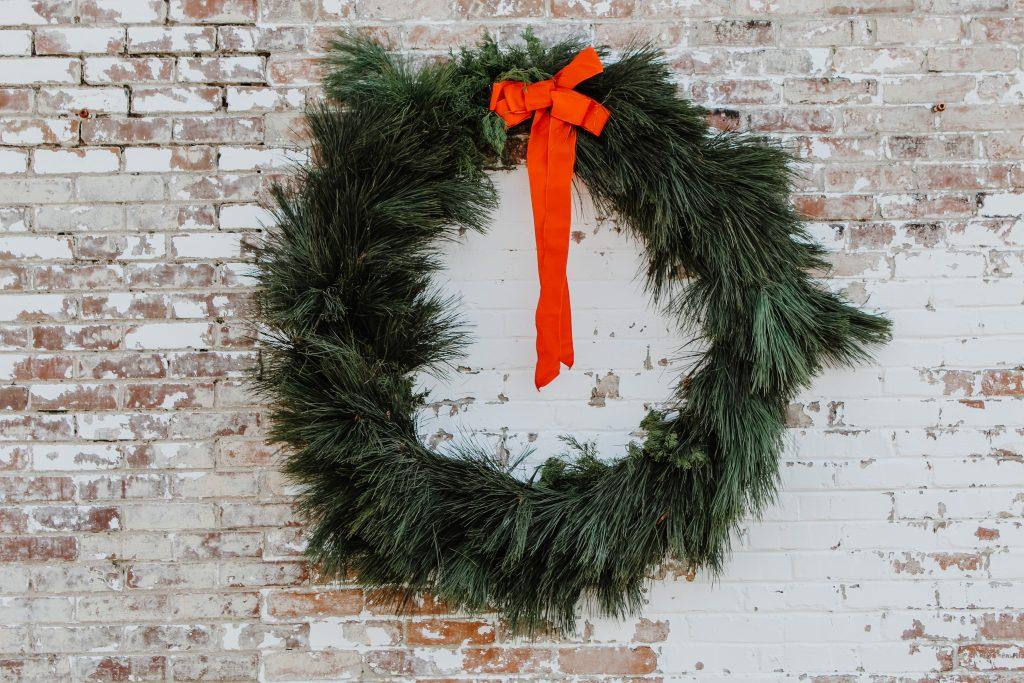 Wreath on brick
